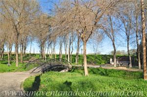 Casarrubuelos, Moderno puente sobre el arroyo del Zarzal, con la fuente y el lavadero antiguos visibles al fondo a la derecha