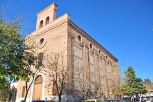 Getafe, Portada y lateral sureste de la Iglesia de los Santos Justo y Pastor