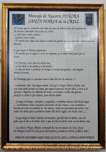 Monasterio y Santuario de Santa María de la Cruz y la Santa Juana, Mensaje de Nuestra Señora Santa María de la Cruz