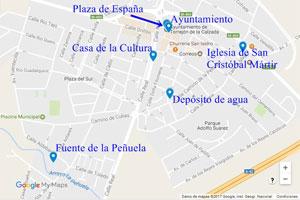 Torrejón de la Calzada, Mapa de los lugares de interés de Torrejón de la Calzada