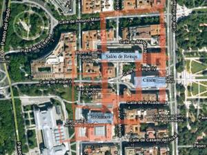 Madrid, Felipe IV, Planta del Palacio del Buen Retiro superpuesta sobre la actual superficie