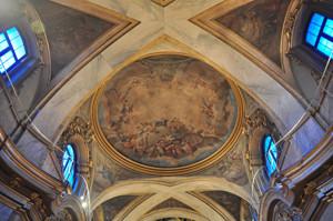 Basílica Pontificia de San Miguel, imagen central de la nave con la Apoteosis de los Santos Niños Justo y Pastor