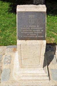 El Jardín de los Planteles en El Retiro, Monumento a Juantxu Rodríguez