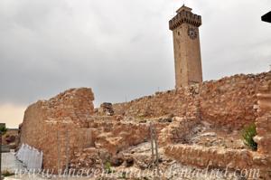 Cuenca, Laterales Este (ventanas) y Norte (reloj) de la Torre de Mangana y restos arqueológicos de su entorno