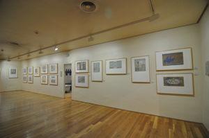 Segunda sala, exposición de bocetos y dibujos realizados en acuarela