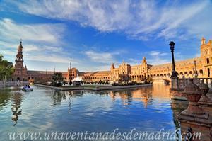 Sevilla, Exposición Iberoamericana de 1929, Torre Norte y ría de la Plaza de España vistas desde la Torre Sur