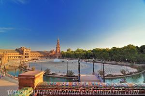 Sevilla, Parque de María Luisa, Plaza de España desde la Puerta de Navarra